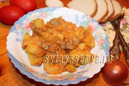 Мясо с картошкой и капустой в мультиварке
