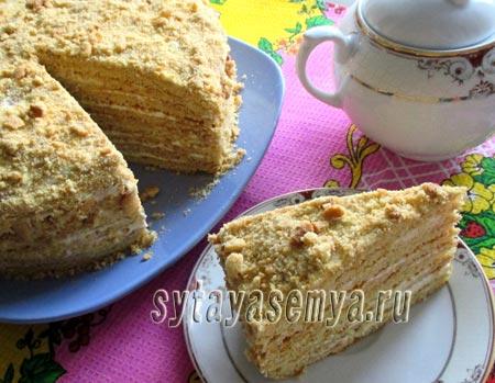 Как приготовить песочный торт с мёдом