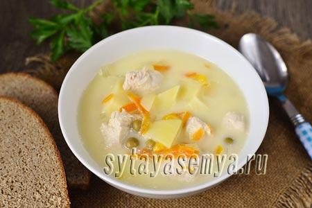 Сырный суп из плавленного сыра с курицей: пошаговый рецепт с фото