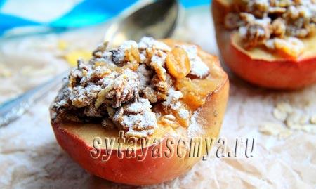 как запечь яблоки с мюсли