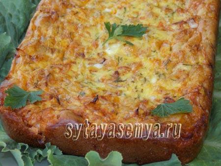 Капустный пирог заливной на кефире