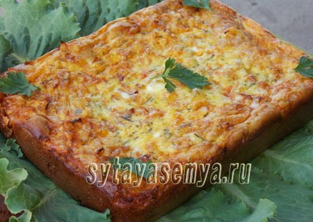 пирог заливной на кефире с капустой