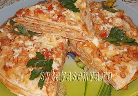 пирог из мексиканских лепёшек