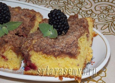 Вкусный пирог с ягодами и штрейзелем