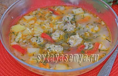 Суп с фрикадельками в мультиварке рецепт