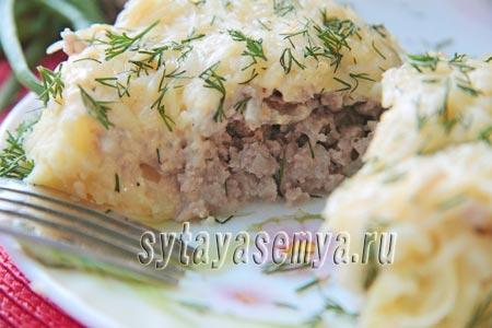 картофельные гнезда с фаршем