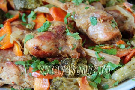 Рецепт кролика с овощами в духовке