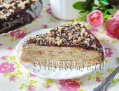 Миниатюра к статье Блинный торт с масляным кремом, шоколадной глазурью и орехами