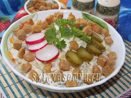 Салат с кальмарами и картофелем рецепт