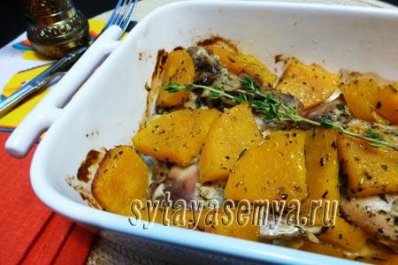 Кролик, запеченный в духовке с тыквой: рецепт с фото