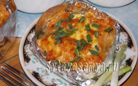 Курица с картошкой в духовке в фольге (порционная)