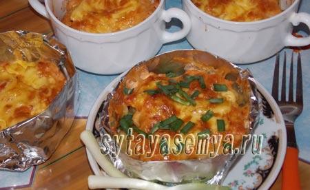 Курица с картошкой в духовке порционная
