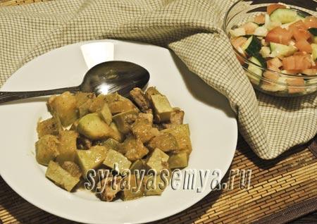 Кабачки, жареные с мясом: пошаговый рецепт с фото