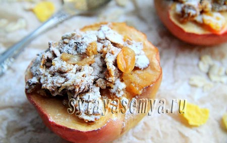 Яблоки, запечённые с мюсли: пошаговый рецепт с фото