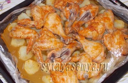 Курица с картошкой в духовке пошаговый рецепт