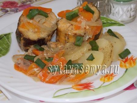 Терпуг в духовке с овощами