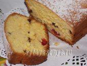 Миниатюра к статье Вкусный кекс на молоке с ягодами и шоколадными каплями