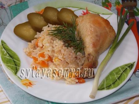 Курица с рисом в духовке рецепт с фото