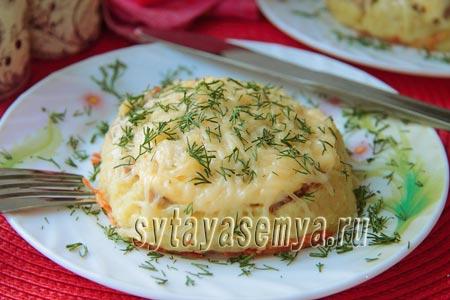 Гнезда из картофельного пюре с фаршем