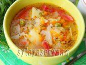Миниатюра к статье Овощной суп с капустой и зеленым горошком в мультиварке