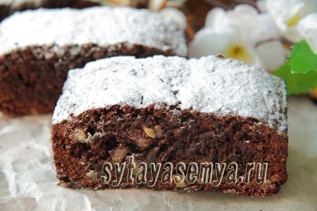 Брауни с какао и грецкими орехами