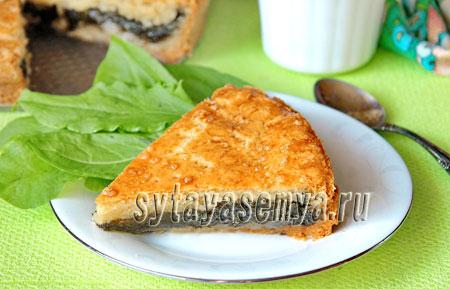 Пирог с щавелем из песочного теста рецепт
