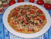 Миниатюра к статье Диетическая пицца с курицей на творожном тесте